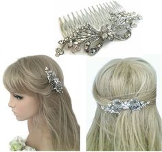 Pretty Flower Diamante Hair Comb Slide with Crystals in silver tone 7 cms
