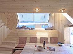 Architecture : Gorgeous dining room wooden interior the ufogel design ideas with wooden dining table and simple lighting picture - a part of Pretty Ufogel Holiday House Floats Above the Meadows in Lienz, Austria Cabin Design, Small House Design, Tiny Living, Living Spaces, Living Area, New Yorker Loft, Wood Shingles, Minimalist Home, Minimalist Design