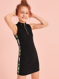 To find out about the Girls Half Zipper Front Camo Striped Side Rib-knit Dress at SHEIN, part of our latest Girls Dresses ready to shop online today! Cute Girl Outfits, Kids Outfits Girls, Cute Outfits For Kids, Cute Casual Outfits, Cute Summer Outfits, Stylish Outfits, Girls Dresses, Preteen Girls Fashion, Girls Fashion Clothes