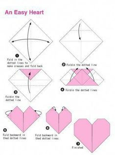 Hope you like the origami patterns! :) I and trying to put together an archive of origami diagrams for you and me to enjoy! Paper Hearts Origami, Easy Origami Heart, Instruções Origami, Easy Origami For Kids, Easy Oragami, Dollar Origami, Origami Bookmark, Origami Stars, Origami Flowers