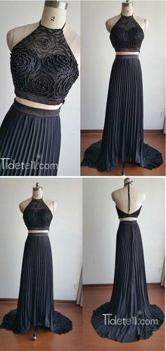 black two-pieces prom dresses, long prom dresses 2016, halter prom dresses with black beaded