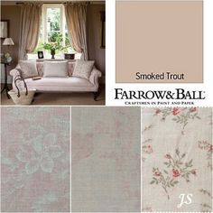 Kate Forman Inspiration by Joanne Sandford - Paint: Smoked Trout (Farrow  Ball) Curtains, Cushion: Pink Sophia, Sofa: Ophelia, Lampshade and Cushions: Sprig