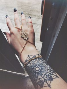 photography jewelry vintage boho Personal Grunge tattoos tattoo nails black nails gypsy vertical hamsa black and gray mandala tattoo hand chain hamsa hand
