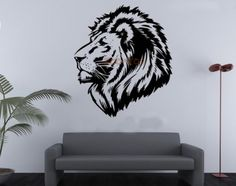Black Lion Totem Wall Decal