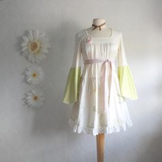 Retro Style Shabby Chic Dress Bohemian Chic Cream by MyFairMaiden, $82.00
