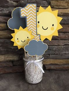 Items similar to You Are My Sunshine Centerpiece Happy Birthday Sunshine Party Decor Photo Prop Suns Chevron Yellow And Gray Birthday Decorations i am one on Etsy Baby 1st Birthday, First Birthday Parties, Birthday Party Decorations, First Birthdays, Cake Birthday, Birthday Ideas, Birthday Centerpieces, Birthday Crafts, Room Decorations