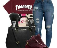 teen clothes for school,teen fashion outfits,cheap boho clothes Outfit Ideas For Teen Girls, Teenage Outfits, Swag Outfits For Girls, Cute Outfits For School, Cute Swag Outfits, Teen Fashion Outfits, Casual Outfits, Outfits With Jordans, Girls Wearing Jordans
