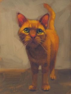 Mavis the orange cat, an original oil painting, painting by artist Diane Hoeptner