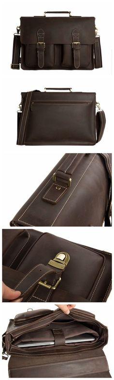 2ea9a98a9064 Handcrafted Top Grain Genuine Leather Laptop Briefcase Business Handbag Men  Messenger Bag Laptop Briefcase