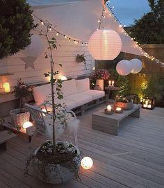 Apartment Patio Shade Ideas Balconies 51 Ideas For 2019 Cozy Patio, Outdoor Decor, Apartment Garden, Backyard Lighting, Diy Outdoor, Patio Lighting, Diy Patio, Outdoor Patio Table, Apartment Patio