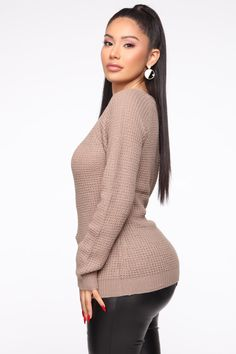 Available In Black, Khaki, Ivory, Mauve, Burgundy And Red Waffle Sweater Raglan Sleeve Round Neck Acrylic Imported Sexy Outfits, Cute Outfits, Fashion Outfits, Womens Fashion, Dress Fashion, Very Good Girls, Iranian Women Fashion, Janet Guzman, Beautiful Curves