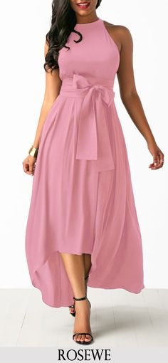 Belted Pink High Low Dress and Cardigan.#Rosewe#pink#dress