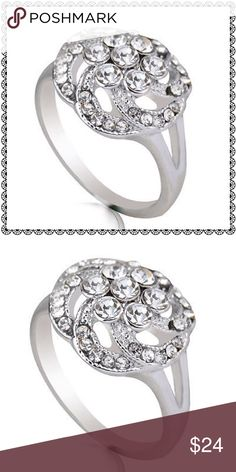 Beautiful silver statement rhinestone ring. Silver rhinestones and class are all a part of this lovely ring. Jewelry Rings