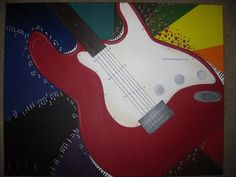 Painting of a guitar with Beatles themed details, by Lauren