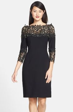 Nue by Shani Crepe & Lace Sheath Dress available at #Nordstrom