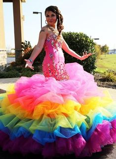 Rainbow Bridesmaid Dresses, Rainbow Wedding Dress, Prom Dresses, Lollipop Costume, Bridal Gowns, Wedding Gowns, Rainbow Costumes, Gypsy Wedding, Stunning Wedding Dresses