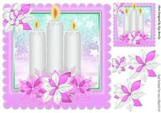 Pretty candles in pink snow frame with snowflakes 8x8 on Craftsuprint - View…