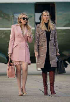 Nadire Atas on Chic Winter Jackets Ideas For Women Ivanka Trump (right) and Tiffany Trump (left) also boarded Air Force One to go to Mar-A-Lago Donald Trump Daughter, Ivanka Trump Style, Formal Chic, Fashion Outfits, Womens Fashion, Fashion Trends, Fashion Top, Hollywood, Hijab Chic