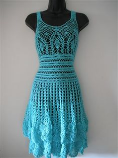 Elegant mint summer crochet dress size M. - Crochet Me