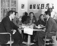 During the making of Arsenic & Old Lace (1944) - George Tobias, Raymond Massey, Frank Capra, Peter Lorre & Cary Grant.