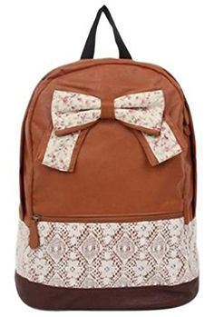 Eforstore Cute Vintage Canvas Floral Bowknot Lace Rucksack Backpack Handbag Schoolbag Bookbag for College School Outdoor Travel for Teen Girls Teens Students Women Ladies (Brown)