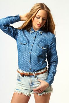 Easily dressed up or down, Alma All Over Denim Blouse With Pearls #denimdaze #boohoo