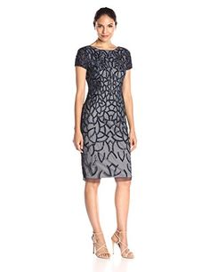 Adrianna Papell Womens Short Sleeve Fully Beaded Cocktail Dress Navy 14 *** You can get more details by clicking on the image.