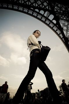 This photo is awesome. I love the angle and the background. I like the wide angled view. I would probably lighten up her pants as they blend in with the background.