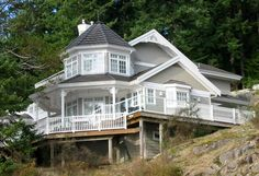 Victorian style home in West Bay, Gambier Island. Build By West Coast Turn Key Custom Home Designs, Custom Homes, Gambier Island, Victorian Style Homes, Victorian Fashion, West Coast, House Design, Victorian Architecture, Cabin
