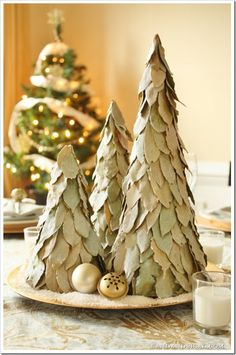DIY Glittered Bay Leaf Trees - pull these out of our pantry.