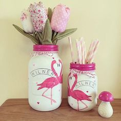 Decorative flamingo Kilner Jar home decor hand painted Flamingo Party, Flamingo Craft, Flamingo Decor, Pink Flamingos, Flamingo Bathroom, Flamingo Gifts, Mason Jar Projects, Mason Jar Crafts, Mason Jar Diy