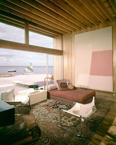 Thanks to inventive architects like Horace Gifford, New York's Fire Island Pines has become an architectural destination: Not exactly your average beach shares, My Living Room, Home And Living, Living Spaces, Boho Apartment, Interior Architecture, Interior And Exterior, Ideas Para Organizar, Fire Island, Up House