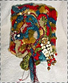 """I felt like scrumbling"" crochet felted art bag  Scrumble - freeform crochet"