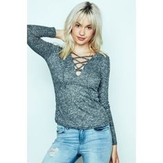 Ribbed Lace-Up Top Urban Planet, Guys And Girls, Planets, Girl Fashion, Lace Up, Tees, Outfits, Shopping, Feminine Fashion
