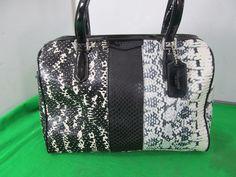 Coach F31741 SIGNATURE EXOTIC NANCY SATCHEL PURSE BAG Black White Snake Pattern #Coach #Purse