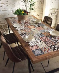 Furniture Makeover, Painted Furniture, Diy Furniture, Trestle Dining Tables, Dining Room Table, Patio Table, Wood Table, Tile Top Tables, Diy Home Decor
