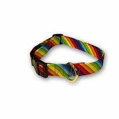 Diagonal Pride 100 Cotton Adjustable Cat Collar Rainbow Stripe  711 x 38 >>> Want additional info? Click on the image.