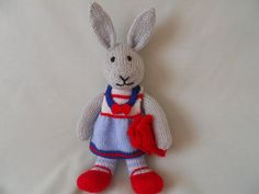 Hand Knitted Rabbit Jenny the Dressed Bunny by littledazzler