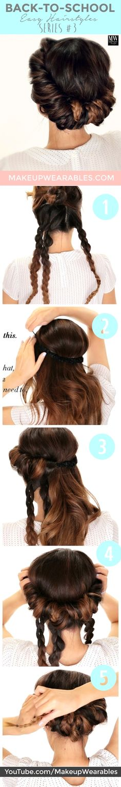 Minute Braided Headband Updo Hairstyle -- the back of my hair always falls out of this hairstyle, so maybe the braids will help! Back To School Hairstyles, Pretty Hairstyles, Braided Hairstyles, Braided Updo, Everyday Hairstyles, Hairdos, Night Hairstyles, Easy Updo, Romantic Hairstyles