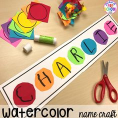 Paint name collage. School theme activities and centers (letters counting fine motor sensory blocks science)! Preschool pre-k and kindergarten will love it. Kindergarten Names, Preschool Names, Preschool Centers, Preschool Writing, Kindergarten Activities, Learning Activities, Preschool Activities, Science Centers, January Preschool Themes