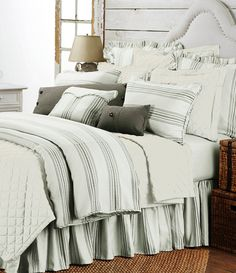 Shop for HiEnd Accents Prescott Stripe Duvet Cover Set. Get free delivery On EVERYTHING* Overstock - Your Online Fashion Bedding Store! Farmhouse Bedding Sets, Country Bedding, Farmhouse Decor, King Duvet Set, Comforter Sets, King Comforter, French Country Bedrooms, Luxury Bedding Sets, White Pillows