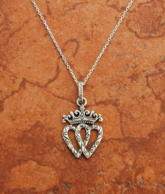 Sterling Double Heart with Crown Necklace