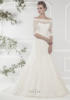 Ellis Bridals Rose wedding dresses collection 2015 : Style 11418 'Elegant Off-the-Shoulder Lace A-line Dress with Delicate Three Quarter Length Sleeves and Narrow Satin Belt'