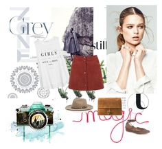 """""""Button front skirt + ballet flats"""" by gabriela2105 ❤ liked on Polyvore featuring MANGO, Miss Selfridge, rag & bone, Steve Madden and WallPops"""