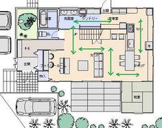 回遊 My House Plans, House Floor Plans, Craftsman Floor Plans, Japanese House, House Layouts, Plan Design, House Rooms, My Dream Home, House Design