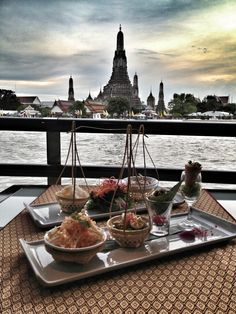 Authentic Thai Food by Chaopraya River, Bangkok, Thailand.