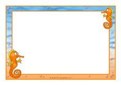 Seahorse A4 page borders (SB7451) - SparkleBox