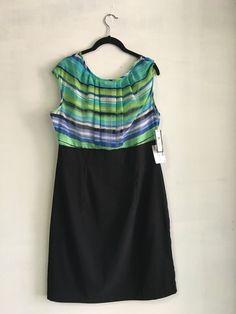 AB Studio NWT Sleeveless Dress, Size 14, Shades Of Green, Blue, Aqua & Black #ABStudio #SleevelessDress #Casual