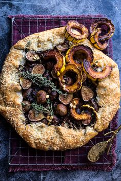 Buttered Mushroom, Fig and Bacon Galette with roasted squash - appetizer or side, this gallette is pretty AND delicious + so simple! At halfbakedharvest.com