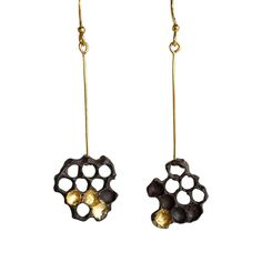 Honeycomb Earrings (Oxidized with Gold Leaf) by Chase and Scout. Curious handmade jewelry for men and women, based in Austin Texas.